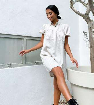 Noisy May Petite smock shirt dress in cream stripe
