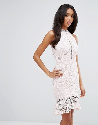 Lipsy Crochet Lace Pencil Dress With Frill Hem