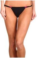 Betsey Johnson Stretch Cotton w/ Lace Bridal String Bikini (Black Kiss the Bride) - Apparel