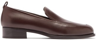 The Row Topstitched Leather Loafers - Brown