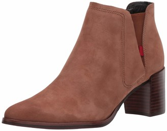 Marc Joseph New York Women's Genuine Leather Block Heel with Elastic Detail Amsterdam Bootie Ankle Boot