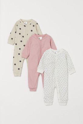 H&M 3-pack Cotton Pajamas - Beige