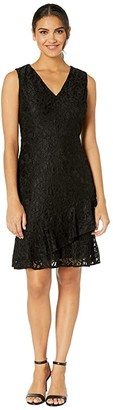 Sam Edelman Ruffle Tiered Lace Dress (Black) Women's Dress