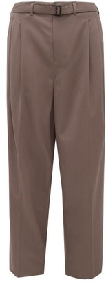 Lemaire Belted Twill Wide-leg Trousers - Brown