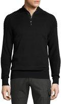 Ralph Lauren Ribbed Merino Wool Half-Zip Pullover, Black