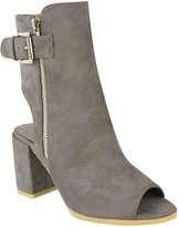 Fashion Thirsty Womens Ankle Boots Mid Block Heel Peep Toe Open Back Buckle Strap Size 9