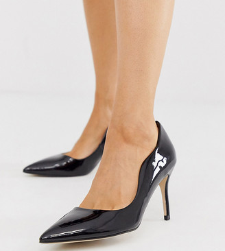 Miss KG wide fit scalloped court shoes-Black