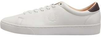Fred Perry Mens Spencer Premium Leather Trainer Porcelain