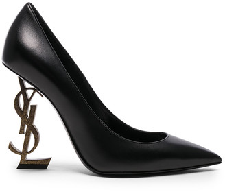 Saint Laurent Leather Opium Monogramme Heels in Black & Gold | FWRD