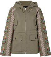 Needle & Thread Embroidered Cotton-blend Canvas Jacket - Army green