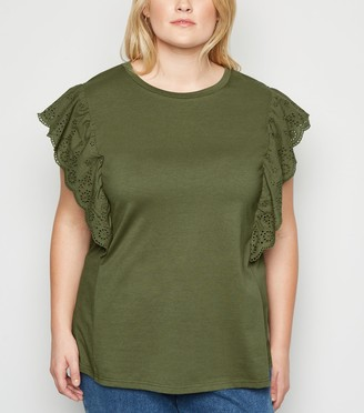 New Look Curves Broderie Frill Trim T-Shirt