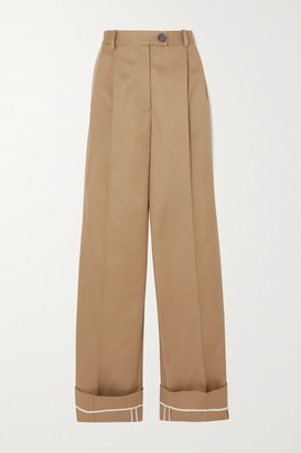 Peter Do Pleated Cotton-twill Wide-leg Pants - Beige