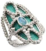 Armenta Women's Sterling Silver Scrolled Quartz, Labradorite & Diamond Mosaic Ring
