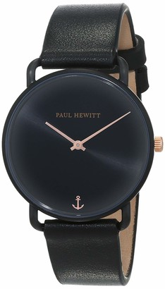 PAUL HEWITT Miss Ocean Line Black Sunray - Stainless Steel Watch for Women with Black Leather Bracelet
