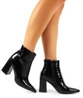 Public Desire Hollie Pointed Toe Ankle Boots Croc