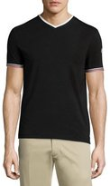 Moncler Tape-Tipped Short-Sleeve T-Shirt, Black