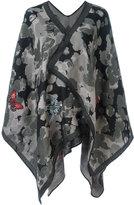 Alexander McQueen embroidered cardi-cape - women - Wool/Cotton/Polyester/Metallic Fibre - One Size