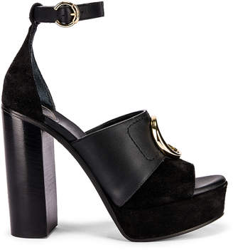 Chloé C Ankle Strap Platforms in Black | FWRD