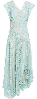 Zimmermann Asymmetric Broderie Anglaise Cotton And Gauze Dress