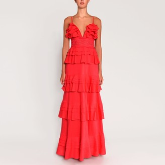 True Decadence Hot Pink Linen Plunge Front Tiered Ruffle Maxi Dress From