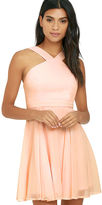 LuLu*s Forevermore Peach Skater Dress