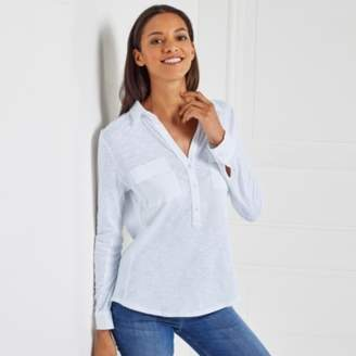 The White Company Cotton Half Button Long Sleeve Shirt , Chalk Blue, 18