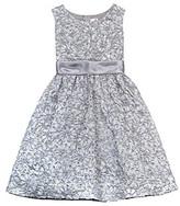 Rare Editions Girls' 7-16 Silver Floral Soutache Dress