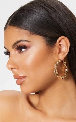 Ice Gold Chunky Twist Hoop Earrings