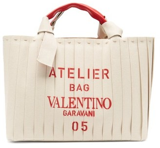 Valentino Atelier 05 Logo-print Canvas And Leather Tote Bag - Cream Multi