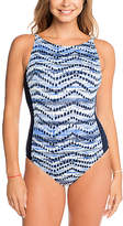 Penbrooke Navy Zigzag High-Neck One-Piece
