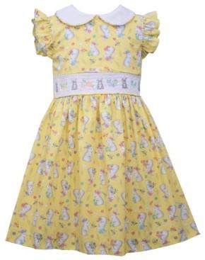 Bonnie Jean Little Girls Flutter Sleeved Bunny Print Dress