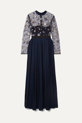 Self-Portrait Embellished Tulle And Pleated Crepe De Chine Maxi Dress - Navy