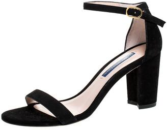 Stuart Weitzman Black Suede Ankle Strap Open Toe Sandals Size 37