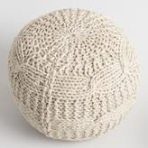 Cost Plus World Market Taupe Heather Sweater Pouf