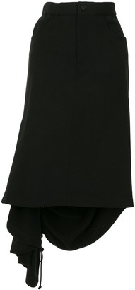 Yohji Yamamoto Ruched Asymmetric Skirt