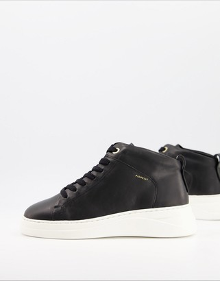 Fiorelli Pippa leather high top sneakers in black