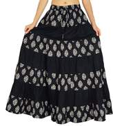 Amoghah Boho Style Cotton Floral Print Long Flaired Skirt Elastic Waist Bottoms