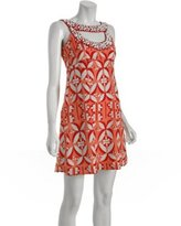 Nanette Lepore coral graphic cotton 'Secret Cove' beaded dress