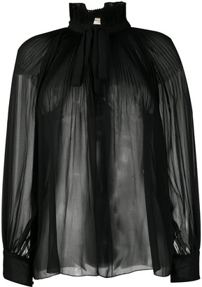 Saint Laurent Necktie Pleated Blouse