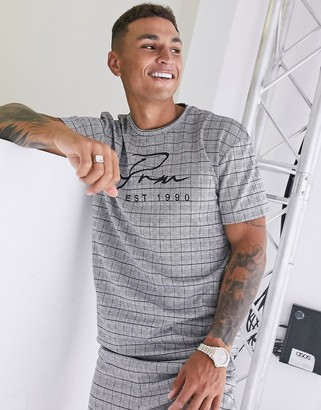 Jack and Jones two-piece t-shirt in gray check Exclusive at ASOS