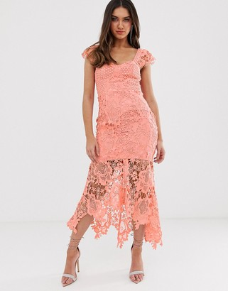 Love Triangle sweetheart neck lace dress with cupped top in soft coral-Orange