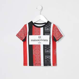 River Island Mini boys red bandana stripe print T-shirt