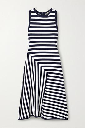 MICHAEL Michael Kors Striped Ribbed-knit Dress - Navy