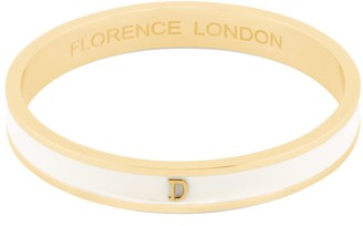 Florence London Initial D Bangle 18Ct Gold Plated With Cream Enamel