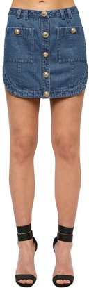 Balmain Cotton Denim Mini Skirt