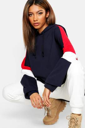 boohoo Colour Block Oversized Hoody