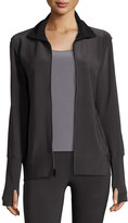 Norma Kamali Bonded Jersey Zip-Front Turtle Jacket, Pewter