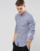 Asos Skinny Check Shirt In Blue