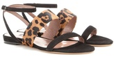 Tabitha Simmons Orla Leopard Suede And Pony Skin Sandals