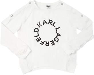 Karl Lagerfeld Paris LOGO PRINT L/S COTTON JERSEY T-SHIRT